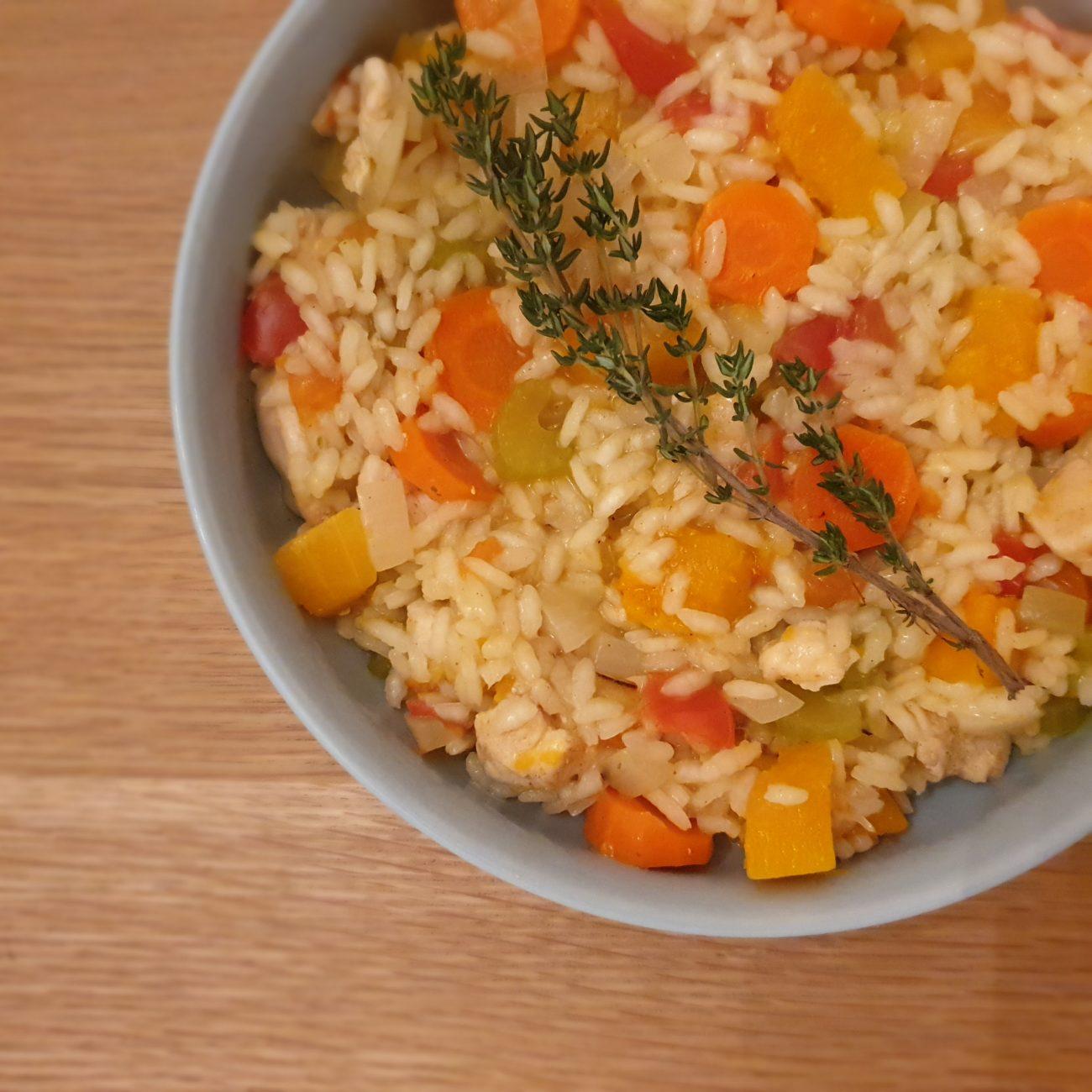 Risotto met oranje groenten