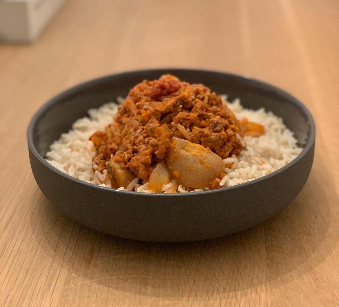 Rijst met makkelijke hachee