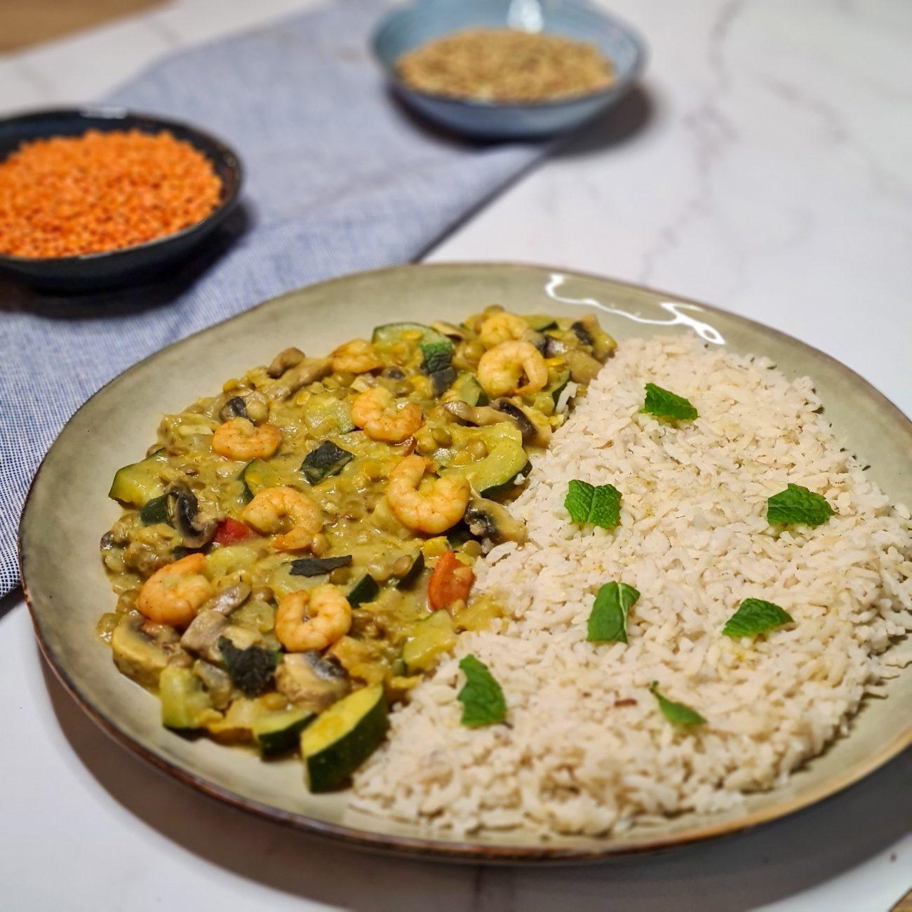 Groene curry met garnalen